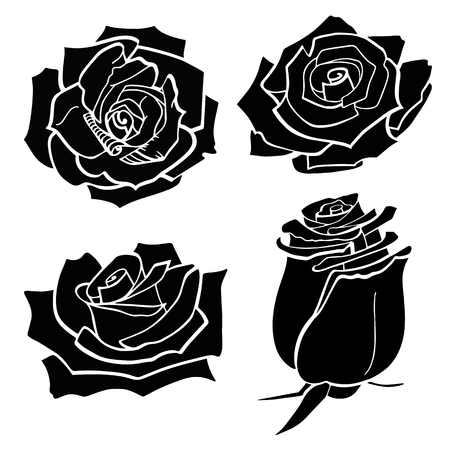 Set of four vector black silhouettes of rose flowers isolated on a white background. Vector illustration EPS 10 file Vetores
