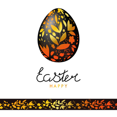 Easter card in hand drawn style with gold flowers berries and leaves. Happy Easter. Easter egg with floral texture on a white background. Lettering. Khokhloma. EPS 10.