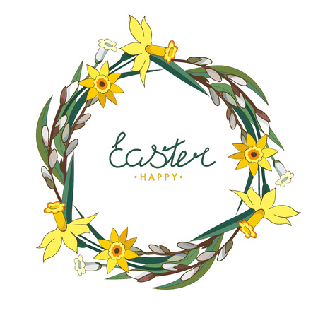 Happy Easter. Lettering. Floral wreath of willow branches with yellow daffodils on a white background. EPS 10.