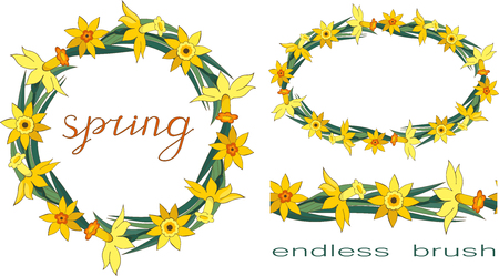 Endless horizontal border. Set of vector creative floral elements isolated on a white background. Wreath made of yellow daffodils. Floral garland, floral wreath. Lettering. Spring