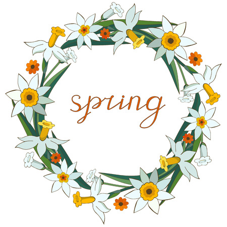Objects isolated on white background. Floral garland, floral wreath made of white daffodils. Narcissus. Calligraphy phrase. Spring. Lettering. Illustration