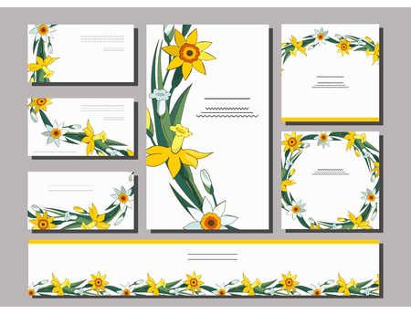 Set of floral spring templates with cute bunches of white and yellow daffodils. Postcard and business card with narcissus. For romantic design, announcements, greeting wedding cards, posters. Standard-Bild - 122551897