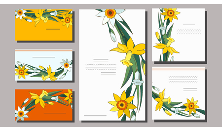 Set of floral spring templates with cute bunches of white and yellow daffodils. Postcard and business card with narcissus. For romantic design, announcements, greeting wedding cards, posters. Standard-Bild - 122551898