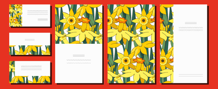 Set of floral spring templates with cute bunches of white and yellow daffodils. Postcard and business card with narcissus. For romantic design, announcements, greeting wedding cards, posters. Standard-Bild - 122551899