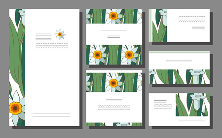 Set of floral spring templates with white and yellow daffodils on a green backround. Business card with narcissus. For romantic design, announcements, greeting wedding cards, posters. Flowers Standard-Bild - 122551900
