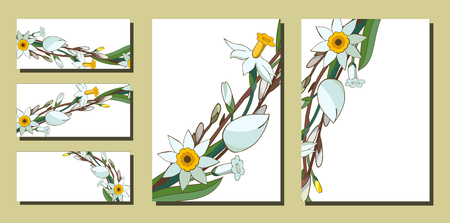 Set of floral spring templates with bunches of white daffodils and willow. Business card with narcissus and salix. For romantic design, announcements, greeting wedding cards, posters, advertisement Standard-Bild - 122413149