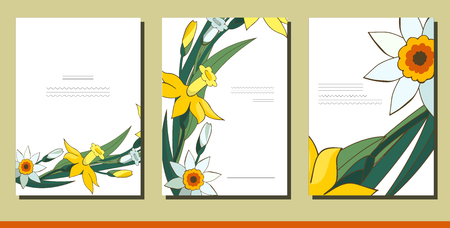Set of trendy floral spring templates with white and yellow daffodils. Cards with narcissus. For romantic design, announcements, greeting wedding cards, posters, advertisement. Standard-Bild - 122413151
