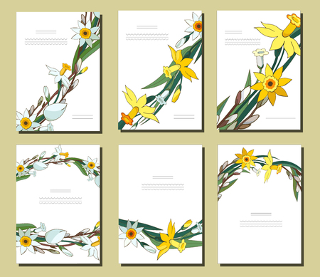 Set of floral spring templates with bunches of white daffodils and willow. Cards with narcissus and salix. For romantic design, announcements, greeting wedding cards, posters, advertisement Standard-Bild - 122413152