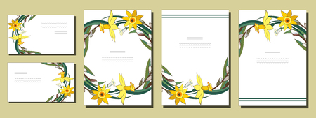 Set of floral spring templates with bunches of yellow daffodils and willow. Cards with narcissus and salix. For romantic design, announcements, greeting wedding cards, posters, advertisement. Standard-Bild - 124388259