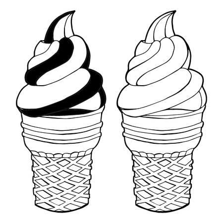 Vector hand drawn ice cream isolated on white background. Black and white. Summer linear design