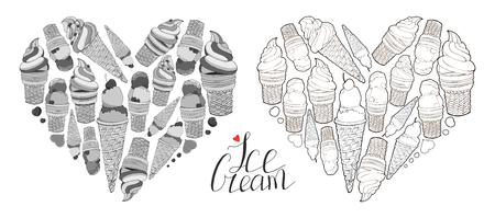Hearts made of elements. Heart made of hand drawn ice creams in waffle cones. Lettering.Calligraphy phrase. I love ice cream. Black and white.