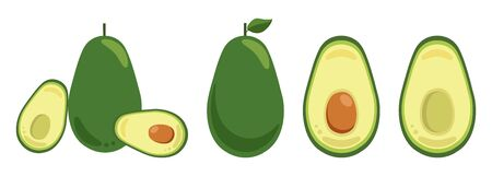 Set of vector elements isolated on white background. Whole and cut in half avocado with pit Ilustração