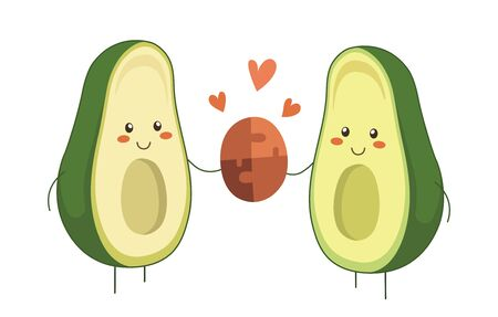 Avocado couple in love. Two avocado halves holding two pieces of jigsaw connecting couple puzzle. Valentine Day vector cartoon fruit character with hearts isolated on white background. Kawaii style Ilustração