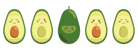 Set of vector smiling avocado characters isolated on a white background. Whole and cut in half avocado with pit. Ilustração