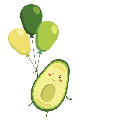 Vector illustration. Smiling, winking avocado character with balloons isolated on white background. Positive banner, poster, backdrop in kawaii style for advertising, decoration,greeting card template