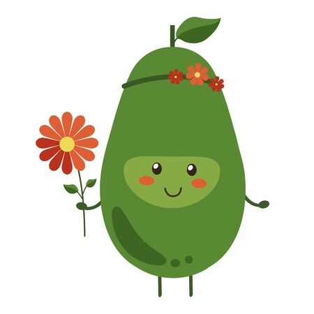 Vector illustration. Cartoon smiling avocado hero with bright red flowers isolated on white background. Positive fruit character with flower wreath on her head. Banner, poster for kids
