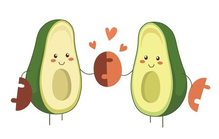 Isolated vector illustration of two cartoon avocado heroes in love holding avocado pit together. Valentine Day vector cartoon fruit character with hearts for romantic design. Perfect match
