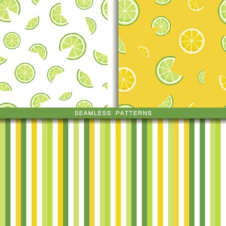 Set of vector seamless patterns with lime and lemon slices. Endless texture. Wrapping paper, packaging, fabric print. Cover for planner, notebook. Striped background in white green yellow colors.