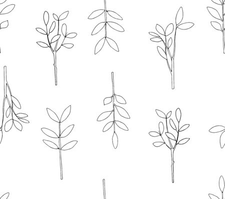 Vector seamless botanical pattern with hand drawn herbs isolated on white background. Endless texture. Wrapping paper,textile fabric print. Cover for planner, notebook. Black and white.
