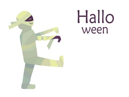 Colorful cute vector illustration isolated on a white background. Happy Halloween. Postcard template. Smiling mummy walking like a zombie
