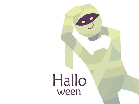Colorful cute vector illustration isolated on a white background. Happy Halloween. Greeting card template. Smiling headless mummy with purple skin and yellow glowing eyes holding head in hands. Vectores