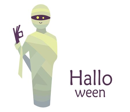 Colorful cute vector illustration isolated on a white background. Happy Halloween. Greeting card template. Smiling mummy with purple skin and yellow glowing eyes gesturing ok sign with fingers 向量圖像