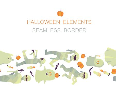 Seamless border of vector Halloween traditional symbols isolated on white background. Endless horizontal brush. Ghosts, mummies, candles, bats and pumpkins Illustration
