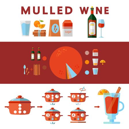 Colorful vector illustration in flat style. Illustrated step by step mulled wine recipe. How to make popular Christmas drink at home. Food cooking infographic. Set of isolated beverage ingredients Illustration