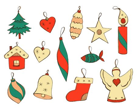 Vector hand drawn illustrations for New Year design in emerald, red and beige colors. Set of Christmas toys in doodle style isolated on a white background. Positive bright Christmas decorations.