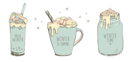 Set of vector hand drawn illustrations in pastel colors isolated on a white background. Christmas cocktails and snowflakes in cartoon style. Hello winter. Winter is coming. Winter time. Mood board
