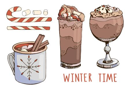 Set of hand drawn vector cocktails isolated on white. Hot chocolate, Christmas candy cane, cinnamon and marshmallow. Winter holiday mood board. Winter time. Modern lettering. Happy New Year