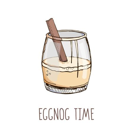 Set of hand drawn vector image in pastel colors and modern light narrow lettering isolated on white. Eggnog time. Popular Christmas cocktail. Template for winter holidays menu, poster, greeting card 向量圖像