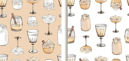 Set of hand drawn vector seamless patterns with hot winter drinks isolated on white background. Eggnog. Fashion textile print for New Year design. Endless texture. Cover for planner, notebook Ilustracja