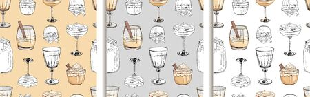 Set of vector hand drawn seamless patterns in pastel colors with hot winter drinks. Eggnog. Fashion textile print for New Year design. Endless texture. Cover for planner, notebook