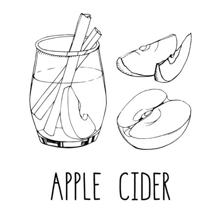 Set of hand drawn vector elements isolated on white background. Apple cider with spices and fruit slices. Popular winter alcoholic beverage. Christmas cocktail. Menu design. Modern lettering
