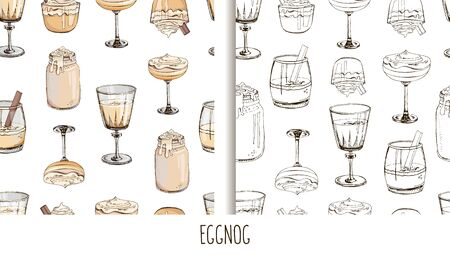 Set of hand drawn vector seamless patterns with hot winter drinks isolated on white background. Eggnog. Fashion textile print for New Year. Endless texture. Cover for planner, notebook. Lettering