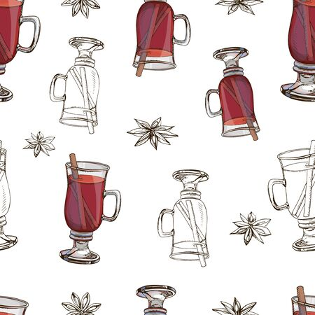Hand drawn vector seamless pattern with popular winter alcoholic beverage. Mulled wine with spices isolated on white. Print for New Year design. Colorful endless texture. Menu decoration. Vector Illustratie