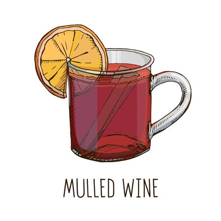 Mulled wine. Set of colorful image and modern light narrow lettering isolated on white. Winter time. Popular Christmas drink. Template for winter holidays menu, poster, greeting card Illustration