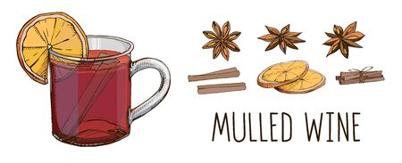 Mulled wine with spices and orange slices. Set of colorful vector images and modern lettering isolated on white. Winter time. Popular Christmas drink. Clip art for winter holidays menu, poster. Illustration
