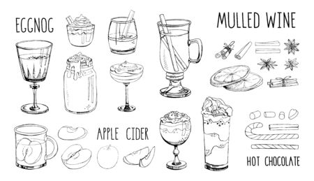 Set of popular hot winter drinks isolated on white. Monochrome vector images of Christmas cocktails, fruit, spices. Hot chocolate, eggnog, cider, coffee, cacao, wine, champagne. Advent. Lettering Illustration
