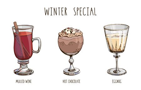 Set of popular hot winter drinks isolated on white. Colorful vector images of Christmas beverages and cocktails. Hot chocolate, eggnog, mulled wine. Winter special. Menu decoration. Modern lettering