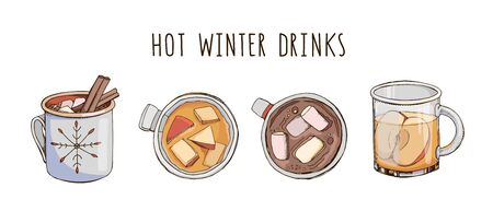 Set of popular hot winter drinks isolated on white. Colorful vector images of Christmas beverages and cocktails. Hot chocolate with marshmallow and apple cider. Menu decoration. Modern lettering.