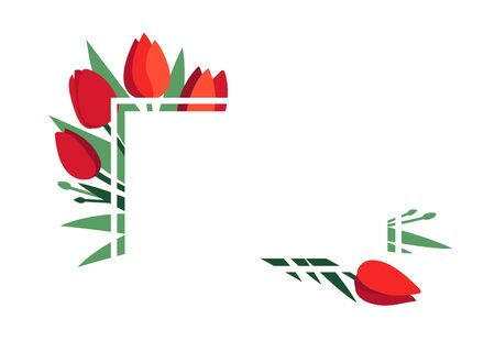 Vector layout. Bright frame with red tulip flowers and green leaves isolated on white. Greeting card template, poster. Design concept for banner, promotion offer, spring and summer sale, advertising.