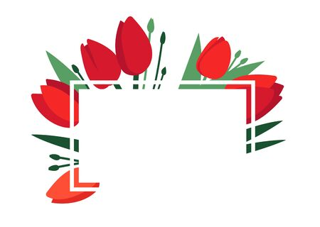 Bright spring vector frame with red tulip flowers and green leaves isolated on white. Greeting card template, poster. Design concept for banner, promotion offer. Happy Womens Day