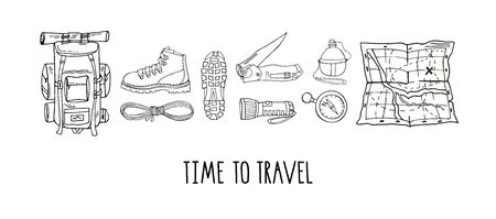 Vector set of hand drawn elements isolated on white. Hiking gear for camping trips, adventurous backpacking. Backpack, boots, map, flashlight, reusable bottle. Lettering. Time to travel