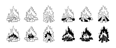 Set of monochrome vector illustrations isolated on a white background. Black and white burning bonfire. Contour and silhouettes. Outdoor adventure. Wild life. Camping hiking time.