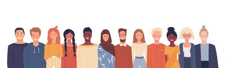 Vector illustration in flat style. Global society. Happy smiling people of different nationalities, cultures. Multiethnic group of people. Bright positive composition with white empty place for text