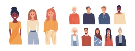 Set of vector illustrations in flat style. Icons. Global society. Happy smiling people of different nationalities, cultures isolated on white. Multi ethnic group of people. Education, traveling