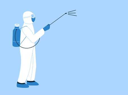 Vector isolated illustration in flat style. Coronavirus quarantine. Poster, brochure template with empty place for text. Man in hazmat suit cleaning, disinfecting. Decontamination in public places Ilustracje wektorowe