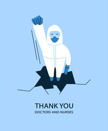 Vector illustration in flat style. Thank you doctors and nurses helping people to cope with novel coronavirus COVID-19. Man in white hazmat suit and mask. Life saver. Heroes working in hospitals